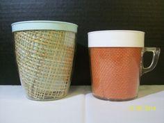 Lot 2 Vintage Raffia Ware Burlap Mug Cup Tumbler Retro Tiki Bar Melamine Plastic