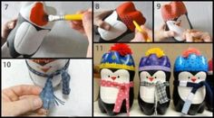 DIY Christmas Penguins diy crafts christmas kids crafts from recycled plastic bottles , put a led candle in it for a novelty xmas decoration made by the kids or a special homemade seasonal nightlight in little kids bedrooms Holiday Crafts, Holiday Fun, Christmas Crafts, Christmas Decorations, Christmas Ornaments, Penguin Ornaments, Christmas Ideas, Christmas Holiday, Thanksgiving Holiday