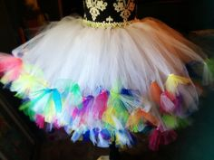 Super fluffy white and rainbow adult formal cocktail tutu skirt