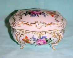 Offered for your consideration today is a vintage, exquisite JIMENAU Germany footed casket, covered trinket box. Very ornate & elegant. Casket, Trinket Boxes, Tart, Germany, Elegant, Antiques, Floral, Vintage, Ideas