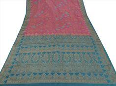 Antique Vintage Indian 100% Pure Silk Saree Embroidery Woven Craft Fab – Sanskriti Vintage