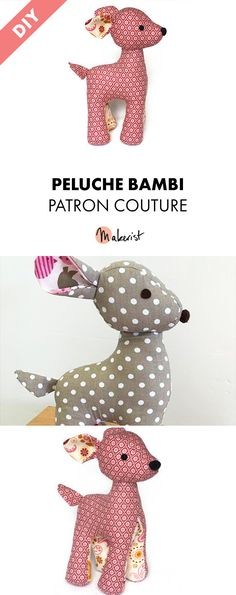 Peluche Bambi le faon – tuto et patron couture Patron Couture – Peluche Bamlbi via Makerist. Coin Couture, Bambi, Knitting Patterns, Sewing Patterns, Sewing Online, New Years Eve Party, Toddler Toys, Plush, Free