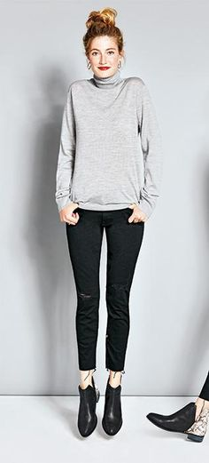 When you want to look like you made all the effort while making as little effort as possible, a turtleneck is your secret weapon. We love this lightweight cashmere sweater paired with slightly distressed jeans and motorcycle booties.  *Think of the turtleneck as the button-down shirt of seasons past—it's one of the most versatile layering pieces.