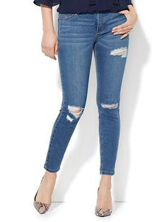 Shop Soho Jeans - Destroyed Power Shaper Ankle Jean - Blue Bandit Wash. Find your perfect size online at the best price at New York & Company.