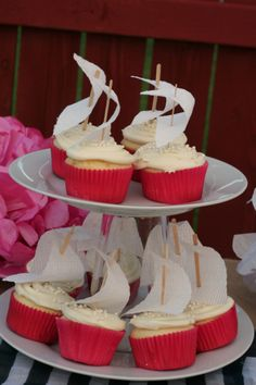 Nautical Themed Baby Shower Sailboat Cupcakes
