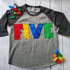 Nine, Building blocks birthday shirt, fifth six birthday theme, building blocks party, raglan - Products - Lego Lego Movie Birthday, 5th Birthday Party Ideas, 30th Birthday Invitations, Birthday Party Decorations, Boy Birthday, Lego Birthday Banner, Fourth Birthday, Lego Themed Party, Lego Party Games
