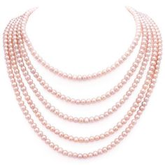 Vintage Flapper Opera Length Endless Cultured Pink Pearl Necklace 6-7mm 100 Inches - pinned by pin4etsy.com