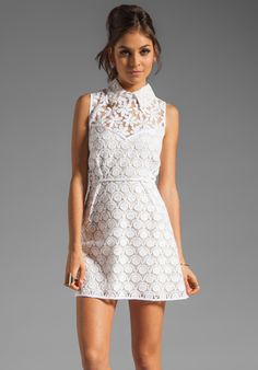New Romantics Collared Party Dress in White