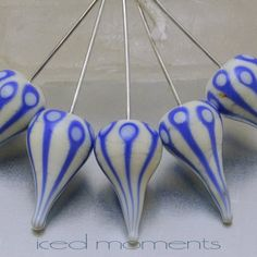 Head pins  Walking Dot teardrops 1  ivory and blue  by IcedMoments, $5.70