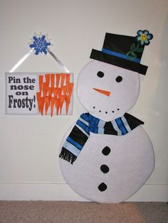 pin the nose on the snow man HAHA I just think this would be funny to watch :)