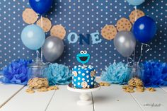 Cookie monster cake smash first birthday photo session Ashleigh Whitt Photography - Cleveland Area Cake Smash Photographer