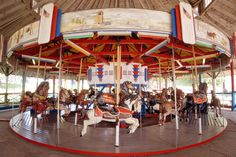 View of the Carousel ride in Midway State Park, Bemus Point, Chautauqua lake NY