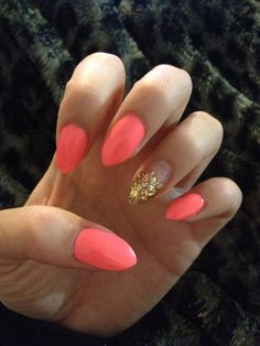 Stiletto nails in Flip Flop Fantasy with faded gold glitter accent nail