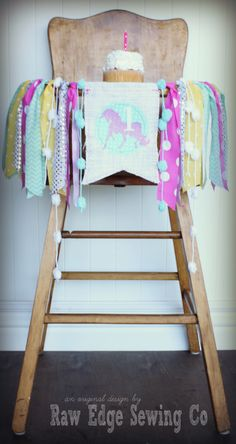UNICORN Birthday Age High Chair Highchair Birthday Banner/Party/Photo Prop/Backdrop/Chair Banner/Cake Smash/Pink Yellow Aqua/Rainbow/Glitter by RawEdgeSewingCo on Etsy https://www.etsy.com/listing/235908264/unicorn-birthday-age-high-chair