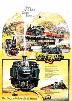 """The Great Little Trains of Wales, the sights and sounds of steam."" Welsh narrow gauge railways. greeting card from a poster in the National Railway Museum collection"