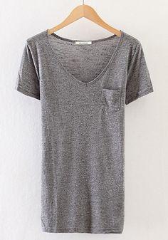 Grey Plain Pockets Short Sleeve T-Shirt