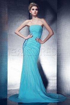 Gorgeous Beaded Floor-Length Trumpet/Mermaid Strapless Dashas Evening Dress
