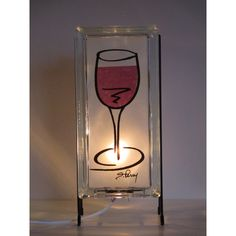 Wine lamp glass block lamp FREE SHIPPING upcycled handmade glass block... (€78) ❤ liked on Polyvore featuring home, lighting, handmade lamps, glass block night light, glass block night lights, hand made lamps and white bar