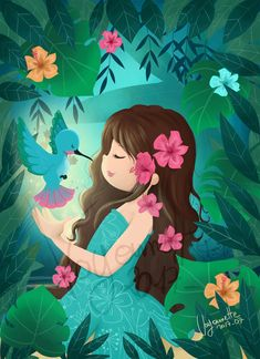 Cute Flower Wallpapers, Hd Nature Wallpapers, Cute Cartoon Wallpapers, Photography Illustration, Art Et Illustration, Art Drawings For Kids, Cartoon Drawings, Little Girl Cartoon, Little Girl Illustrations