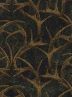 Black Antler Damask Wallpaper FG36031