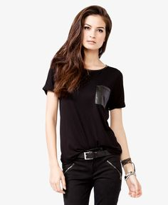 This style is actually a pleather pocket but would make as whole panel across bust.  Pleather binding on scoop neck.