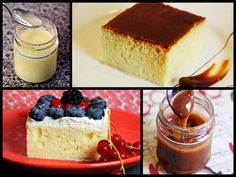 Nasser Milchkuchen mit Karamellcreme oder Sahne und Früchten/ Pastel de ...