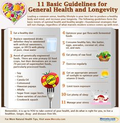 This infographic gives you healthy lifestyle tips that will not only guide you toward optimal wellbeing, but will also improve your longevity. http://www.mercola.com/infographics/general-health-guidelines.htm