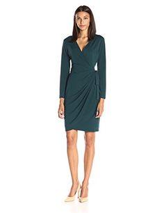 Lark & Ro Women's Long-Sleeve Wrap Dress