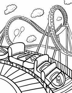 fun roller coaster coloring sheet for kids