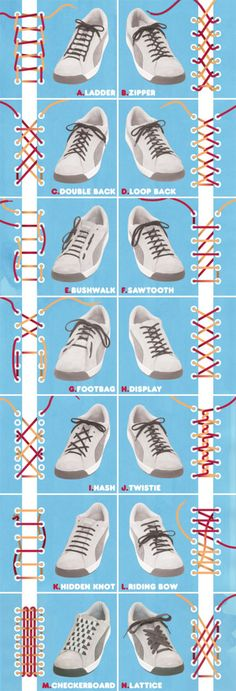 14 ways to tie shoelaces