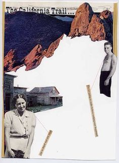 """April Gertler: The California Trail, Book clipping from """"Trails West"""", found black and white photos, pink string, text from the book """"Jaws"""" (pg. 187 - 188), and graphite, 6.75"""" x 9.5"""", 2007"""