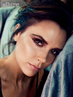 Victoria Beckham - Allure Cover Shoot - Smashbox Always Sharp Waterproof Kôhl Liner in Sumatra, Smashbox Photo Op Eye Shadow Trio in Cover Shoot, Smashbox Halo Long Wear Blush in Bronze, and Smashbox Be Legendary Lipstick in Honey.