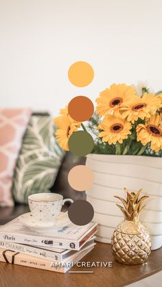 Sunflowers at home color palette by Amari Creative Brand Studio Colour Pallette, Colour Schemes, Sunflower Colors, Color Harmony, Creative Colour, Aesthetic Colors, Color Swatches, Mellow Yellow, House Colors