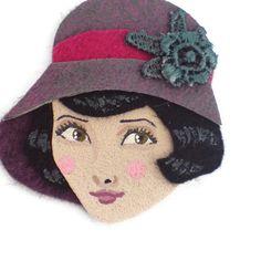 Jazz Age Girl Fabric Brooch Felt Brooch Art Brooch by yalipaz, $22.00