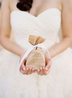 favor bags tied up with ribbon