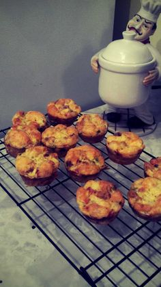 Egg Muffins!  Scrambled eggs poured into muffin tins with veggies, meats and cheeses added for filler. 20 minutes at a 375 degree oven...breakfasts for the week!