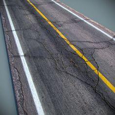 cracked asphalt road 3d obj