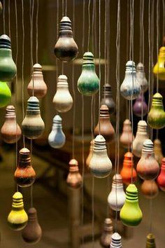 Paint dipped lightbulbs. #color #paintbulb #display