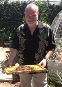 One of our hive hosts - Barry with a frame of honey and bees from a Canberra Urban honey hive