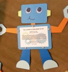 Handmade robot invitation for baby shower