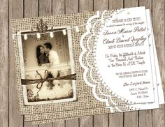 Burlap and Lace Wedding Invitation Rustic by MissBlissInvitations, $15.00 love that you can include a picture
