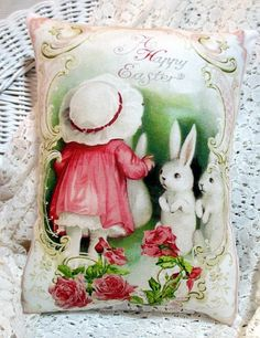 Shabby EASTER Pillow Bunny RabbitPink Roses by ThePeonyShanty