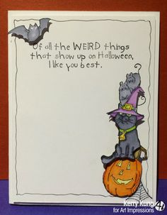 Art Impressions Rubber Stamps: Ai Halloween Mice & Sweet set (SKU# 4310), Air-Hag set (SKU# 4309), and the sentiment Like you Best (SKU# H1786).  Handmade card with bat, black cat, mice and Jack-o-lantern.
