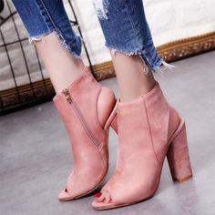 Chunky Heel Boot - Pink