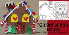 {Free} Build-Your-Own Gingerbread House printable craft template for kids to make this Christmas