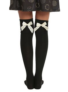 LOVEsick Black And Ivory Bow Over-The-Knee Socks | Hot Topic