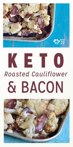 This Keto Roasted Cauliflower and Bacon recipe is a delicious way to eat more cauliflower. It makes a great low carb and keto snack or side dish that is equally perfect for paleo, gluten, grain, dairy and egg free dieters! Ketogenic Side Dishes, Low Carb Side Dishes, Ketogenic Recipes, Ketogenic Diet, Slim Fast, Vegan Keto, Vegetarian Keto, Bacon Recipes, Low Carb Recipes
