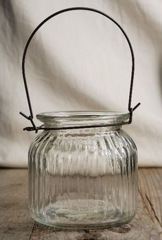 """Hanging Jars Ribbed Glass Wide Mouth 4"""" Jar $4.99 each / 12 for $4 each"""
