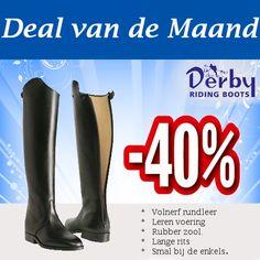 Derby Style Rijlaars   De Derby Style rijlaars is vervaardigd van volnerf rundleer en is extra slank gesneden rondom de enkels. Het model heeft afwerking op de wreef en een rits aan de achterkant tot aan de zool.\  Maten: 36 t/m 41  Normaal € 399,-  Nu € 229,-!  http://happyhorsedeal.nl/deal-van-de-maand.html