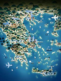 Impressive Map Illustrations By KHUAN+KTRON | GREECE / http://www.yatzer.com/khuan-ktron